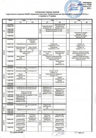 Расписание заочное обучение 1 курс ДПи и Дизайн